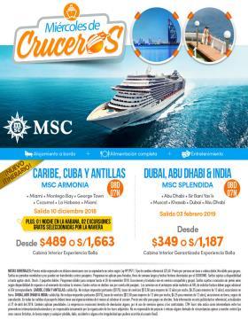 Cruceros MSC Salida: 10 diciembre y 03 febrero 2019