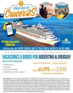 Vacaciones a bordo por Argentina & Uruguay - Cruceros Costa