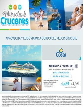 Aprovecha y elige viajar a bordo del mejor Crucero Costa