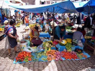 Touring a peruvian market